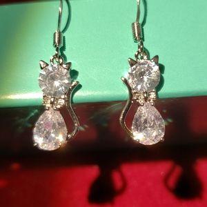CZ Kitty Silver Hoop Earrings